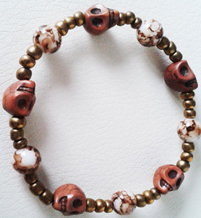 """Браслет """"Хэллоуин коричневый мрамор 2"""" (цвет: коричневый, медный, черный). ( S&L )"""