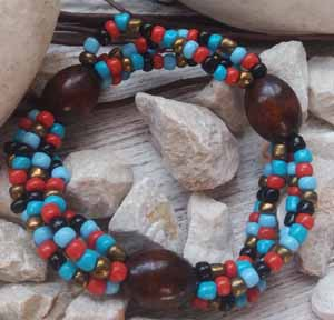 """Браслет """"Касабланка ДО-4"""" (цвет: голубой, красный, мятный, черный, медный, коричневый). ( S&L )"""