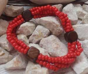 """Браслет """"Коралловый ДК-4"""" (цвет: коралловый, коричневый). ( S&L )"""