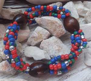 """Браслет """"Кристина ДО-4"""" (цвет: синий, зеленый, красный, серебряный, коричневый). ( S&L )"""