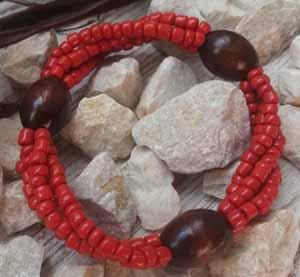 """Браслет """"Рябиновый ДО-4"""" (цвет: красный, коричневый). ( S&L )"""