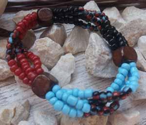 """Браслет """"Трио ДК-4"""" (цвет: голубой, бордовый, чернй, коричневый). ( S&L )"""