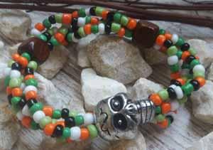 """Браслет """"Череп Африкана - 4"""" (цвет: белый, салатовый, зеленый, оранжевый, черный, серебристый). ( S&L )"""