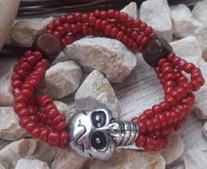 """Браслет """"Череп Бордо - 4"""" (цвет: бордовый, коричневый, серебристый). ( S&L )"""
