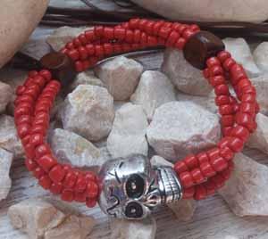 """Браслет """"Череп Рябиновый - 4"""" (цвет: красный, серебристый, коричневый). ( S&L )"""
