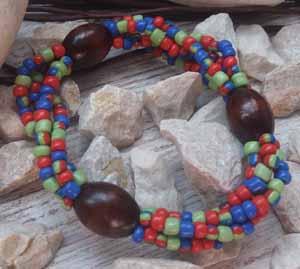 """Браслет """"Юлия ДО-4"""" (цвет: салатовый, синий, красный, коричневый). ( S&L )"""