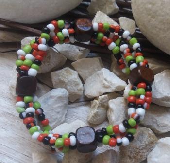 """Браслет """"Амазонка ДК-4"""" (цвет: красный, белый, черный, салатовый, коричневый). ( S&L )"""