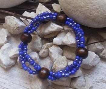 """Браслет """"Индиго с блеском ДШ-3"""" (цвет: синий-индиго, синий-перламутровый, коричневый). ( S&L )"""