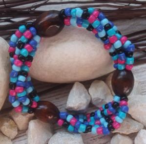 """Браслет """"Анна ДО-4"""" (цвет: синий, мятный, голубой, фуксия, черный, коричневый). ( S&L )"""